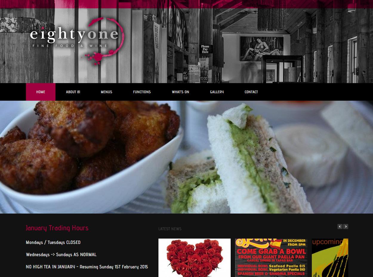 Eighty One Berwick, Restaurant, Wordpress, web design Berwick
